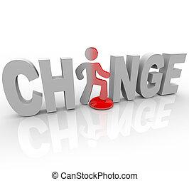 mudança, -, homem, em, palavra, passos, ligado, botão