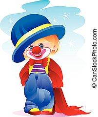 mudança, isolado, menino chapéu, traje, branca, narigudo, agasalho, longo, palhaço, fundo, objeto, ilustração, vermelho, azul, vontade, vetorial