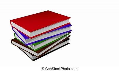 mudança, livros, pilha