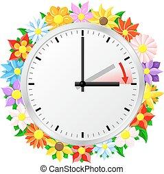 mudança, luz dia, tempo, poupar