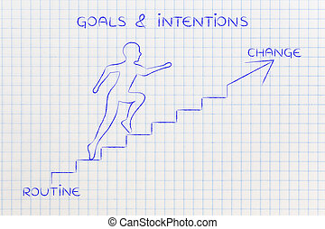 mudança, metáfora, rotina, escadas escalando, ou, homem