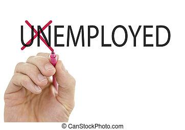 mudança, palavra, desempregado, em, empregado
