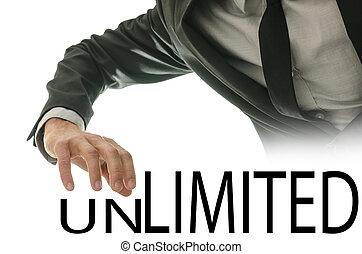 mudança, palavra, ilimitado, em, limitado