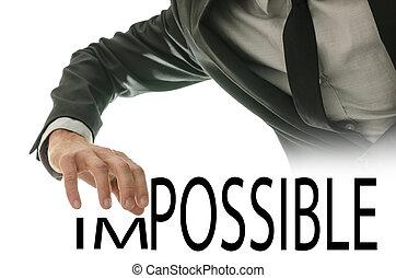 mudança, palavra, impossível, em, possível