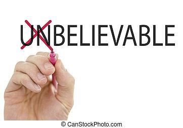 mudança, palavra, incrível, em, believable