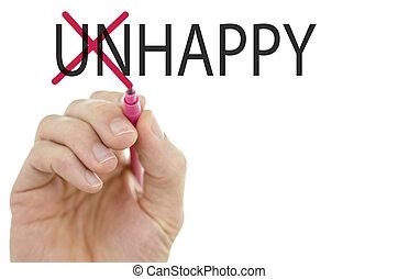 mudança, palavra, infeliz, em, feliz