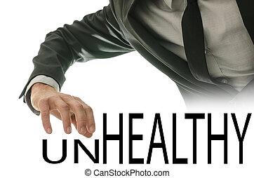 mudança, palavra, insalubre, em, saudável