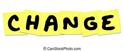 mudança, palavra, ligado, amarela, notas pegajosas, adaptar, melhorar