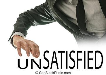 mudança, palavra, unsatisfied, em, satisfeito