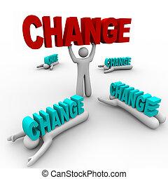 mudança, plataformas, esmagado, um, segurando, outros