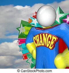 mudança, superhero, olha, para, futuro, de, mudança, e, adaptando