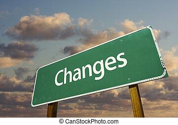 mudanças, verde, sinal estrada