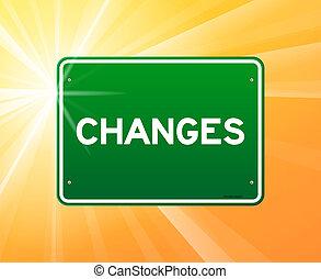mudanças, verde, sinal