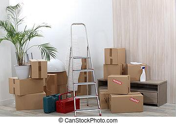 mudanza, cajas