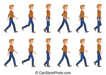 mudanza, caricatura, conjunto, lento, joven, posturas, yendo, illustration., hombre de la persona, delantero, carácter, rápido, secuencia, vector, adulto, vaqueros, ambulante