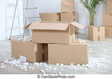 mudanza, con, cartón