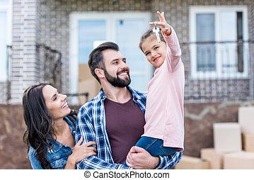 mudanza, familia , casa, nuevo