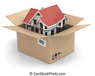 mudanza, house., bienes raíces, mercado