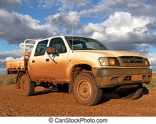 Muddy 4WD in Sturt National Park in Outback Australia