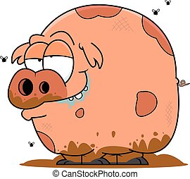 Muddy Cartoon Pig - Illustration of a cartoon pig covered in...