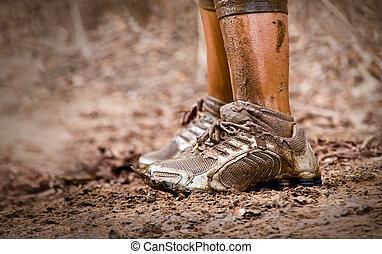 Muddy feet - Mud race runner's muddy feet
