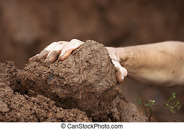 Muddy hand - Mud race runners, muddy hand