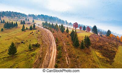 Muddy hillside in autumn rainy season.