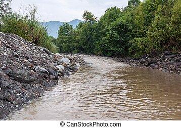 Muddy river at summer season