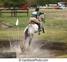 Muddy Splash - A horse jumping out of the water obstacle...