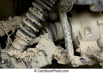 Muddy suspension - Dirty suspension after on off-road ride
