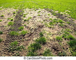 tyre tracks on a muddy sports field