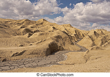 Muddy volcanoes - Spring landscape at the Muddy Volcanoes, ...
