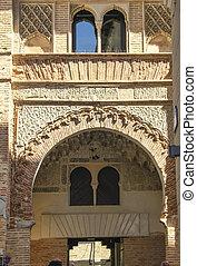 Mudejar door in ancient defensive wall in the town of Cuellar, Spain