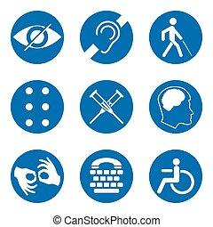 mudo, teia, visão, mandatory, mental, lugares, braille,...
