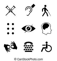 mudo, teia, visão, mandatory, mental, lugares, braille, cadeira rodas, icons., fonte, incapacitado, surdo, vetorial, desenho, baixo, sinais, cobrança, mudo, doença, público, cego