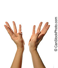 mudra hands poses on white background