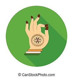 Mudra icon in flat style isolated on white background. India symbol stock vector illustration.