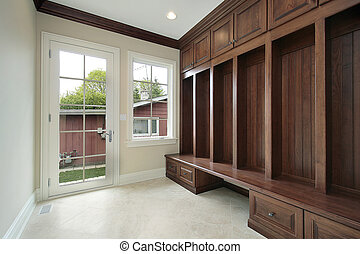 mudroom, bois, cabinetry
