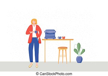muebles, café, oficina, carácter, cafeteria, taza, el gozar...