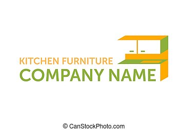 muebles, cocina, fábrica, costumbre, o, logotipo, -