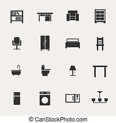 muebles, conjunto, icono