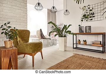 muebles, de madera, habitación, vida