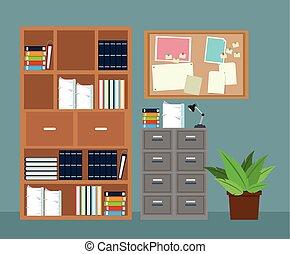 muebles de oficinas, gabinete, archivo, planta potted, tablero de anuncios