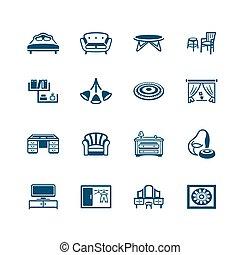 muebles, iconos, interior, |, micro, serie