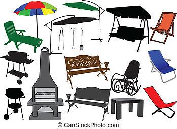 muebles, jardín, terraza