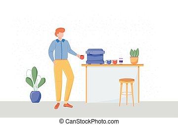 muebles, plants., café, oficina, carácter, cafeteria, taza, ...