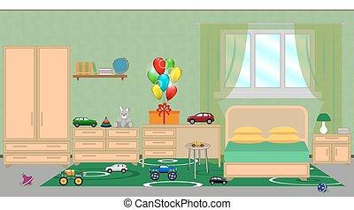 muebles, regalo, festivo, decoración, dormitorio, niños, cumpleaños, juguetes, interior