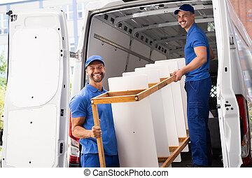 muebles, servicio, movimiento, entrega