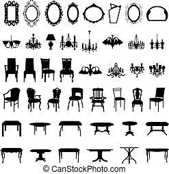 muebles, silueta, conjunto