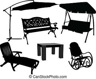 muebles, terraza, jardín